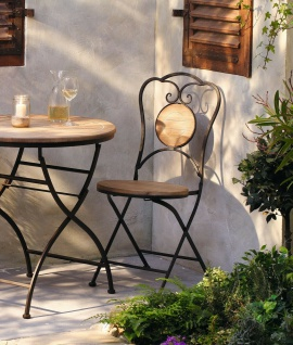 Gartenstuhl aus Metall & Holz im Antik Design, Balkon Klapp Stuhl