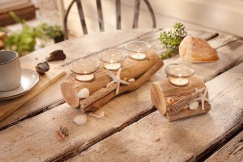 Windlicht Beach groß Holz natur Glas Garten Deko Kerzen Teelicht Halter Ständer