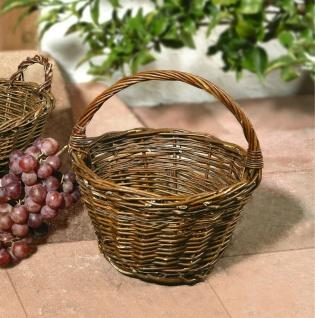 kleiner Bügelkorb aus Weide, braun, Pilz Körbchen Obst Trage Korb