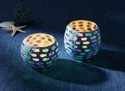 2er Set Windlicht ?Fischschwarm Glas Kerzen Ständer Teelicht Halter Laterne Deko