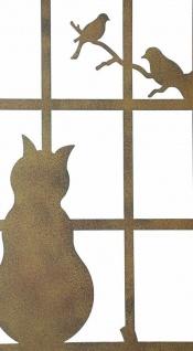 """Wand Deko """" Katze & Fenster"""" aus Metall, Braun, Natur Wand Schmuck Hänger Bild - Vorschau 3"""