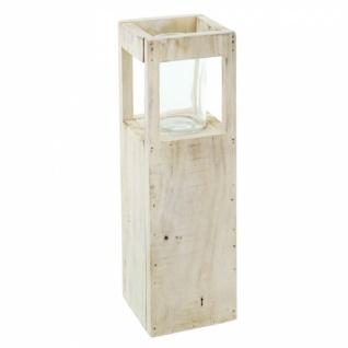 Windlicht Säule 'Shabby-Charme? klein aus Holz & Glas Kerzen Halter Ständer Deko - Vorschau 2