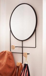 Metall & Holz Garderobe mit Spiegel, 4 Haken, modern, Flur Wand Kleider Halter