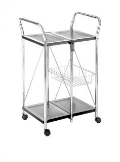 TOMASUCCI Design Küchen Wagen KART Metall chrom / schwarz, klappbar Servier Roll