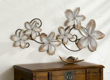 """3D Metall Bild """" Blumen"""" 104x50 cm grau gold, Wand Schmuck Deko Verzierung Blüten"""