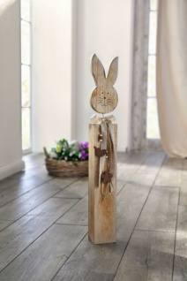 "Deko Säule "" Hase"" aus Holz, 62cm hoch, Landhaus Stil, Frühling Oster Stand Figur"