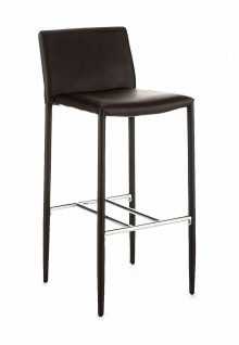 TOMASUCCI 2er Set Designer Bar Hocker LION PU Leder schwarz, Küchen Tresen Stuhl