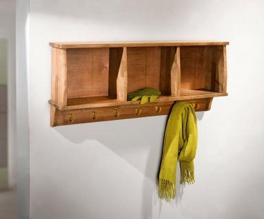 Holz Wand Board, 3 Fächer + 7 Haken, Küchen Hänge Schrank Regal Flur Garderobe