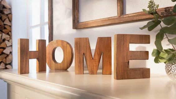 """4 tlg. Schriftzug ?Home"""" aus Mango Holz, 15 cm hoch, Deko Buchstaben"""