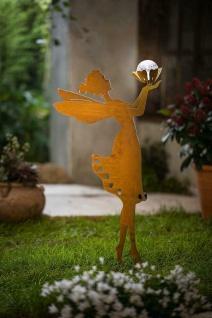 "Metall Garten Stecker "" Fee"" in Rost Optik mit Solar LED Kugel, Deko Engel Figur"