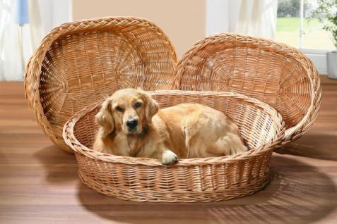 Hundekorb aus Weide, Gr. XL 90x70 cm, Hunde Tier Bett Schlaf Sofa Korb Platz