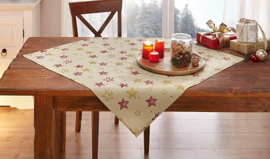 """Tisch Decke """" Sterne"""" beige rot gold, 85x85 Advents Weihnachts Tuch Mittel Wäsche"""