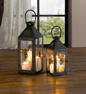 Laterne 'Iris? klein aus Metall, Deko, Garten Windlicht Kerzen Halter Ständer
