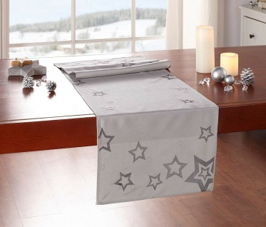 """Tisch Läufer ?Stars"""" beige / Sterne grau, 40x140 cm Deko Band Mittel Decke"""