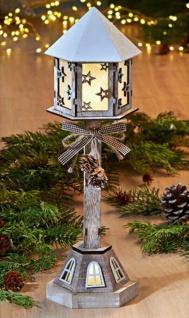 """Stand Laterne """" Natur"""" aus Holz 36 cm hoch, mit Batterie, Deko Steh Leuchte Lampe"""