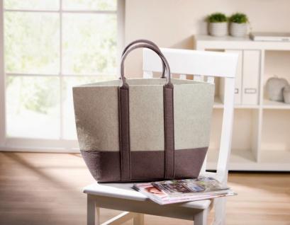 Filz Tasche 'Natur? mit Henkel taupe/ecru Shopper Damen Einkaufstasche