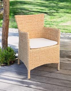 Garten Stuhl LOUNGE aus Poly Wasserhyazinte inkl. Sitz Kissen Korb Rattan Sessel