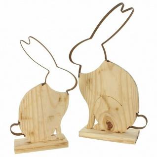 "Hasenpaar ?Hoppel"" aus Holz Hase Deko Figur Hasenfigur Frühling Ostern Osterdeko - Vorschau 2"