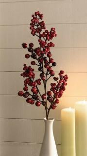"""Deko Zweig """" Rote Beeren"""", 73cm, Kunst Pflanze Blume Ast künstlich Herbst Winter"""