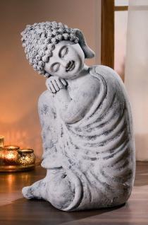 """Großer Buddha """" Ruhe"""" 50 cm hoch, buddhistische Deko Figur Skulptur Statue, grau"""