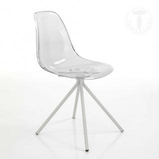 2 TOMASUCCI Design Stuhl KALL-D Acryl klar + Metall weiß Esszimmer Küche Schalen