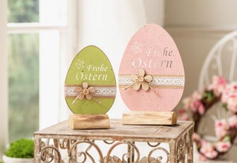 "2er Set Metall Ei 'Frohe Ostern"" rosé grün mit Holz Blume Oster Frühlings Deko"
