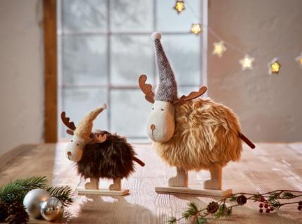 2er Deko Elch 'Wolli? Weihnachten Weihnachtsdeko Textil Figur Winter stehend