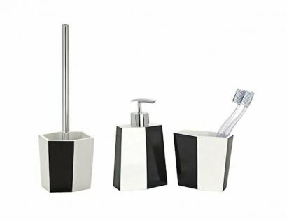 3tlg WENKO Bad Set BiColor schwarz weiß WC Garnitur Seifenspender Zahnputzbecher