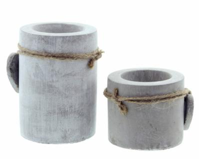 "Teelichthalter "" Stone-heart"" Zement Grau Kerzenhalter Tischdeko Terrasse Neu - Vorschau 3"