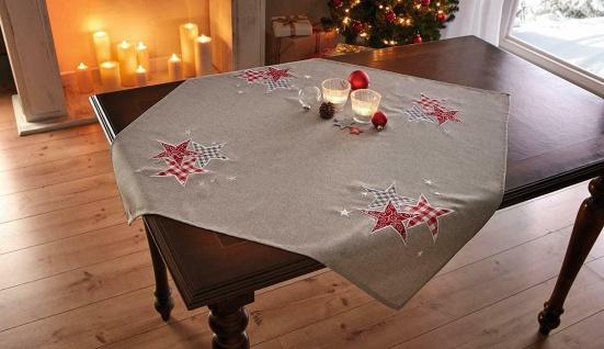 """Tisch Decke beige mit Stickerei """" Sterne"""" 85x85, Leinen Optik, Tuch Mittel Wäsche"""
