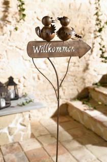 """Garten Stecker """" Willkommen"""" aus Metall 110 cm hoch, Beet Pflanzen Sticker Schild"""