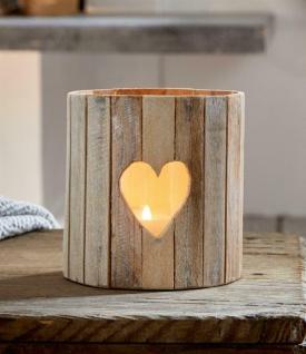 """Windlicht """" Herz"""" aus Holz mit Glas-Einsatz, Kerzen Halter Teelicht Ständer"""