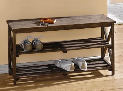 Schuhbank aus Holz, dunkel braun, 2 Ebenen, Flur Sitz Bank, Schuh Regal Ablage