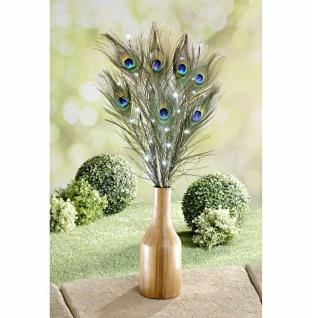 7 Pfauenfedern mit LED Beleuchtung Deko Federn Kunst Blumen Strauss Bündel