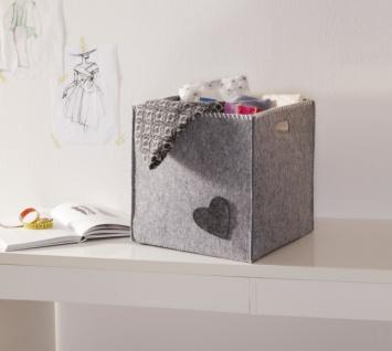 """Universal Korb """" Little Heart"""", Filz, grau, Aufbewahrungs Füll Box Kiste"""