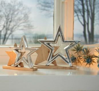 """2 Sterne """" Silver Wood"""" Holz & Porzellan, natur / silber, Weihnachts Deko Figur"""