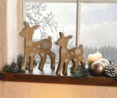 """2er Set Reh Figur ?Schneezauber"""" aus Holz Tier Deko Hirsch 18 cm, 22 cm, Rehkitz"""