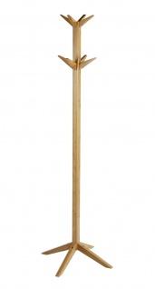 WENKO Garderoben Ständer aus Bambus Holz, 8 Haken, Flur Kleider Stand Garderobe