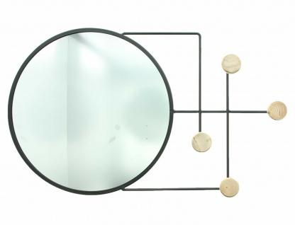 Metall & Holz Garderobe mit Spiegel, 4 Haken, modern, Flur Wand Kleider Halter - Vorschau 2