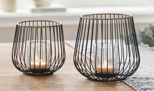 """2er Set Windlicht """" Modern"""" aus Metall & Glas, 11 & 13 cm hoch, Teelicht Halter"""