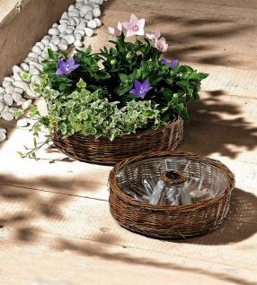 2x Pflanz Rad aus Weide, natur, Blumen Topf Kübel Kasten Korb Schale Garten Deko