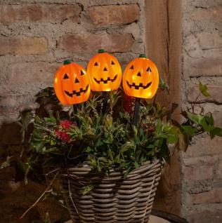 "3 LED Garten Stecker "" Halloween"" Grusel Kürbis mit Beleuchtung Beet Deko Sticker"