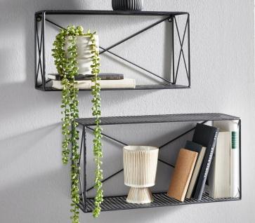 """2er Set Wand Regal """" Gitter"""" aus Metall, schwarz, Deko Hänger Küche Büro Garten"""