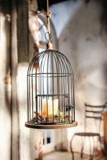 Deko Vogel Käfig aus Holz & Metall Garten Pflanz Laterne Windlicht Kerzen Halter