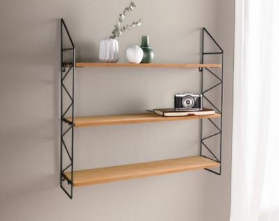 Wand Regal 'Puro? aus Metall & Holz schwarz Hänge Board Deko Hänger