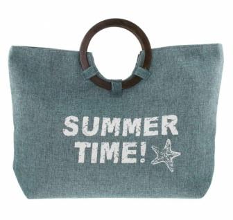 """Damen Tasche """" Summer Time"""" grün / grau mit Holz Griffen, Strand Shopper Einkaufs"""
