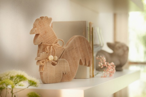 Deko 'Hähne? aus Holz natur Hahn Figur Frühlings Ostern Tisch Objekt