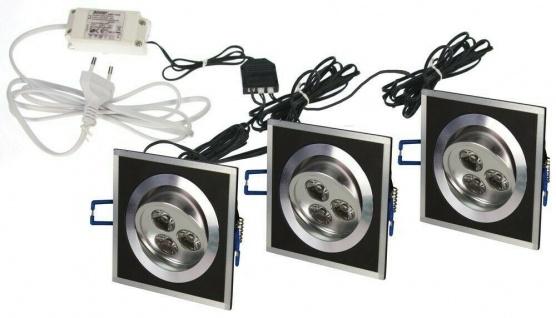 Heitronic 3er Set LED EINBAUSTRAHLER BRÜSSEL 3x3W DECKENLEUCHTE ALUMINIUM