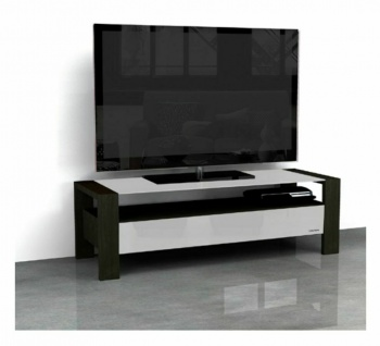 "NorStone TV Lowboard "" Kubben WB"", Rosenholz dunkel + Glas, weiß, Fernseh Schrank"