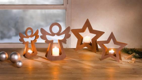 2er Teelicht Halter 'Engelchen? Metall Kerzen Ständer Windlicht Weihnachten
